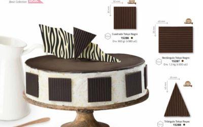 Decoración de chocolate en pasteles. Familia Tokyo Negro.